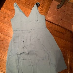 Loft dusty blue a-line zip back dress